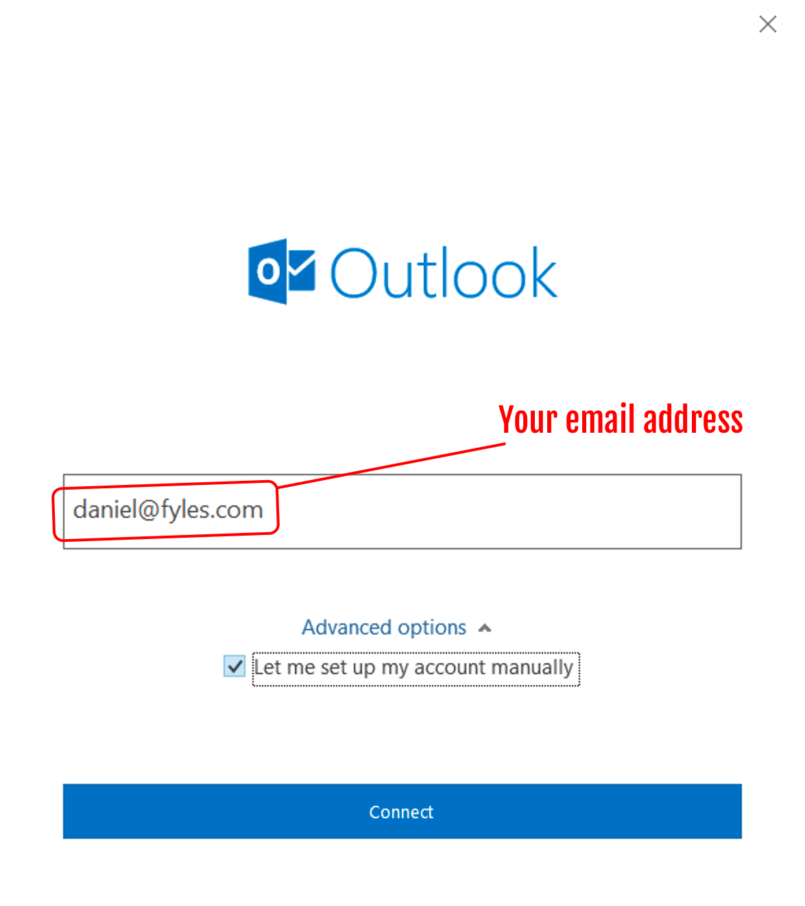 Add Fyles Online mail to Office 365 Outlook